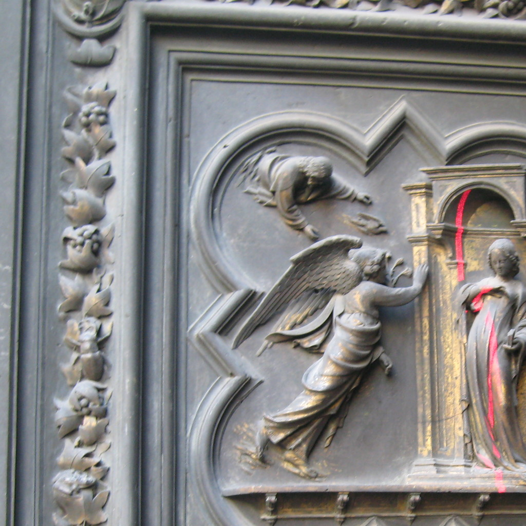 3D laser scanning of the original panel of the Annunciation - North Door