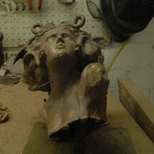 the rough casting - a bronze Medusa Head waiting to be chiselled and polished