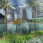 Rendering of the park and the lake with the fountain installed