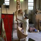 in the Foundry - Abyss Explorer -  a contemporary artwork in bronze being assembled
