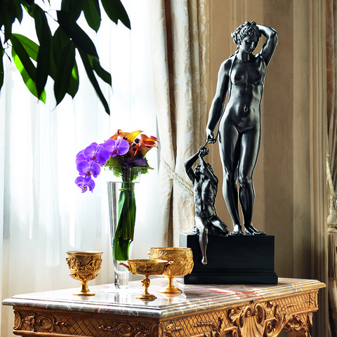 A faithful replica of the Danae by Benvenuto Cellini, inside a private house.